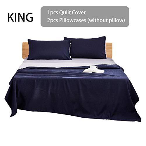 Baiansy 3-teiliges Bettwäsche-Set aus Baumwolle, Bettbezug und Kissenbezüge, einfarbig, Navy, Kingsize (Bettbezug Navy Kingsize Blue)