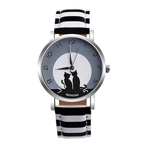 Souarts Damen Leder Armbanduhr Einfach Stil Katze Muster Zifferblatt Analoge Quarz Uhr mit Batterie