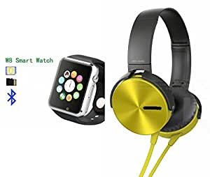 MIRZA Bluetooth A1 Smart Wrist Watch & Extra Bass XB450 Headphones for SONY xperia z1s(Extra Bass XB450 Headphones & A1 Smart Watch Watch Phone with Camera & SIM Card Support Hot Fashion New Arrival Best Selling Premium Quality Lowest Price with Apps like Facebook,Whatsapp, Twitter, Sports, Health, Pedometer, Sedentary Remind,Compatible with Android iOS Mobile Tablet-Silver Color)