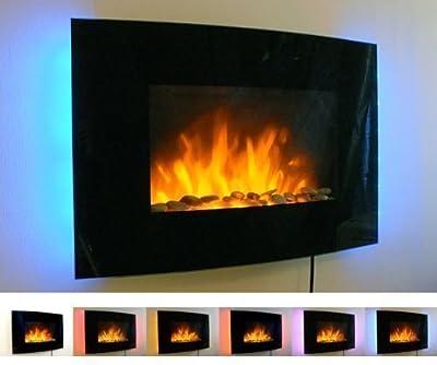 2kW Schwarzer Gebogener Glasschrim Wandmontage Feuer Flammen Effekt Kamin mit 7 Farben LED Hintergrundbeleuchtung von Tooltime - Heizstrahler Onlineshop