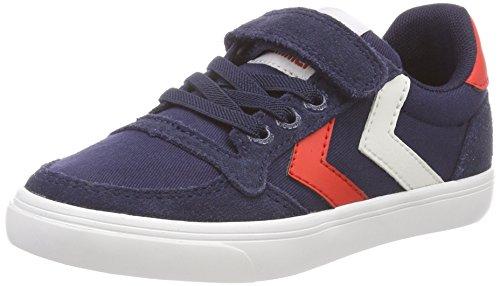 Hummel Unisex-Kinder Slimmer Stadil Low JR Sneaker, Blau (Peacoat), 28 EU