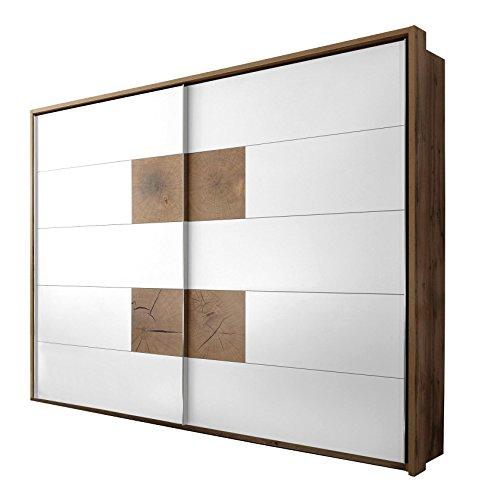 Avanti trendstore - cesena - armadio spazioso con ante scorrevoli in laminato di quercia selvaggia e colore bianco, dimensioni: lap 270x225x60 cm