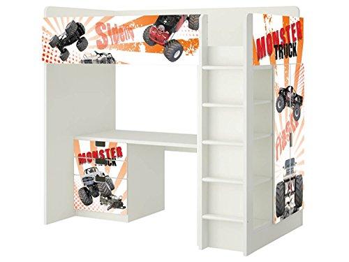 Monster Trucks Möbelfolie | SH19 | passend für die Kinderzimmer Hochbett-Kombination STUVA von IKEA | Klebe-Folie passgenau für Kommode (3 Fächer), Kleiderschrank, Front- und rechte Seitenfläche | STIKKIPIX (Mädchen-haus-etagenbett)