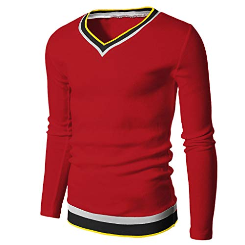 Saingance Herren Langarm Sweatshirt Casual Elastisch Slim V-Neck Langarmbluse Hemd Shirt Tops