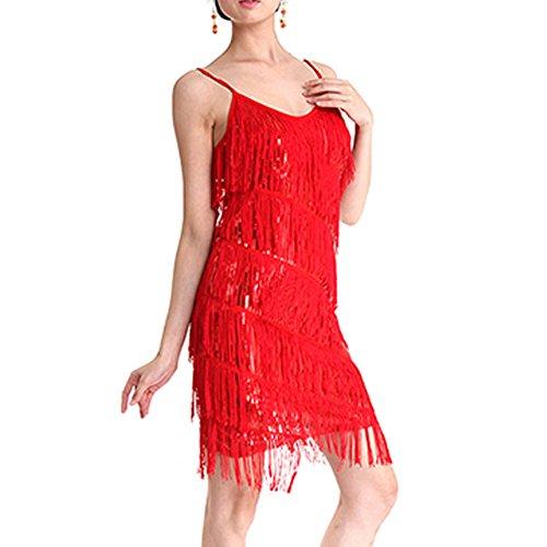 Qlan Damen Latein Tanz Kleider Pailletten Quaste Fransen Rock Latin Kostüm
