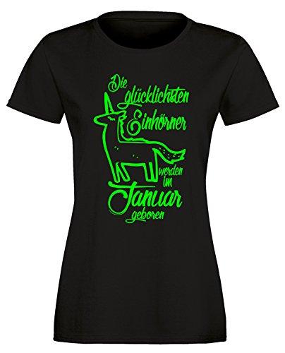 Die Glücklichsten Einhörner werden im Januar geboren! Perfektes Geschenk zum Geburtstag - Damen Rundhals T-Shirt Schwarz/Neongruen