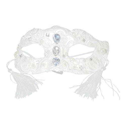 Wunderschöne Luxus Hand verziert Damen weiß Engel Fee Prinzessin Brautschmuck Abendschmuck Masquerade Black Tie Maske–Faux Pearl, Stickerei und (Für Ball Ideen Masquerade)
