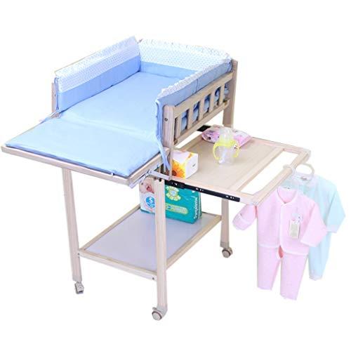 ZQ Wickelaufsatz Kinderwagen Mobile Wickeltisch mit Rollen, Holzbadewanne mit Aufbewahrung, große Arbeitsplatte, einfache Montage, 50 × 62 × 105 cm (Farbe : Blau)