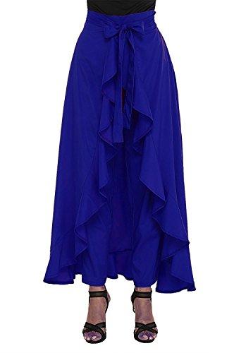 New Women'Ruffle Pants Split High Waist Maxi Long Crepe Palazzo Overlay Pant...