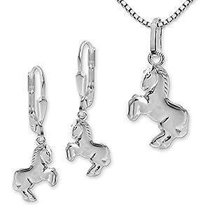 Clever Schmuck Set Silberne Ohrhänger Pferd springend 12 mm, passender Anhänger und Kette Venezia 40 cm STERLING SILBER 925 im Etui
