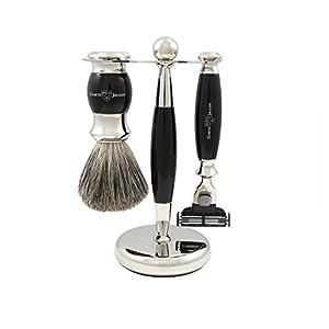 Edwin Jagger Rasur-Geschenk-Set- Pure Badger Dachshaar-Rasierpinsel, Gillette Mach 3 Rasierer und Ständer