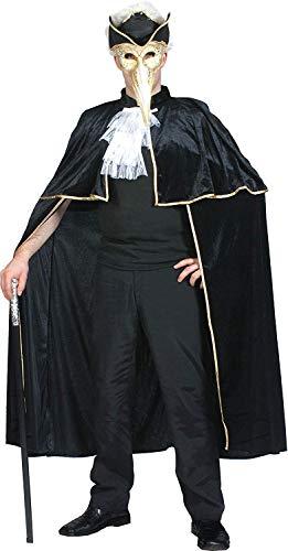 Erwachsene Halloween Highwayman Verkleidung Kostümparty Halbschuhe Schwarz Umhang Mit Gold Trimm