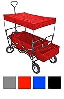 CLP CHARIOT de transport pliable, avec verrouillage des roues, pneus larges, complet avec toiture, charette à bras pliable rouge