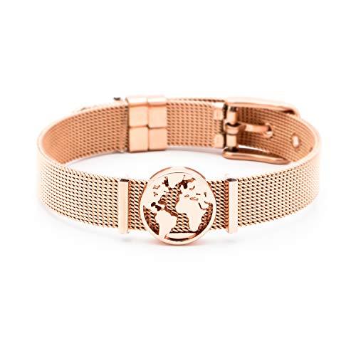 and Damen | Individuelle Anhänger Charms | Edelstahl | Weltkarte | Charmband Set Frauen | Worldmap Bracelet (One World - Rosegold) ()