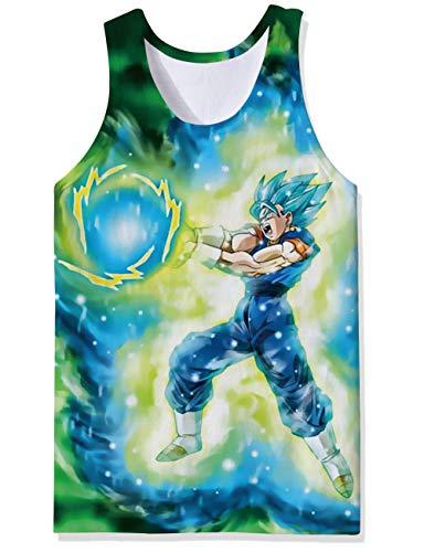 OPCOLV Männer ärmelloses Workout Tank Top Shirt dunkle Farbe Tan Agon Dragon Ball Anime Super Insaiyan Goku Weste Tops abgeschnitten Singlet Jersey für männliche Dude Bro Guys