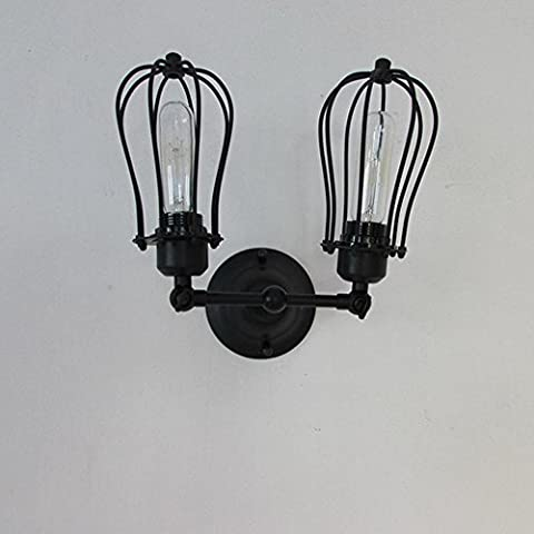 Double Head Cage Horizontal Wall Lamp,Iron Sconce,Creative Personality Simple ,Garage