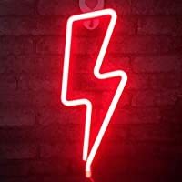 Neon LED Lightning Shape Signs Lamp Hanging Art Wall Decorative for Baby Room Christmas Wedding Birthday Supplies (red Light)