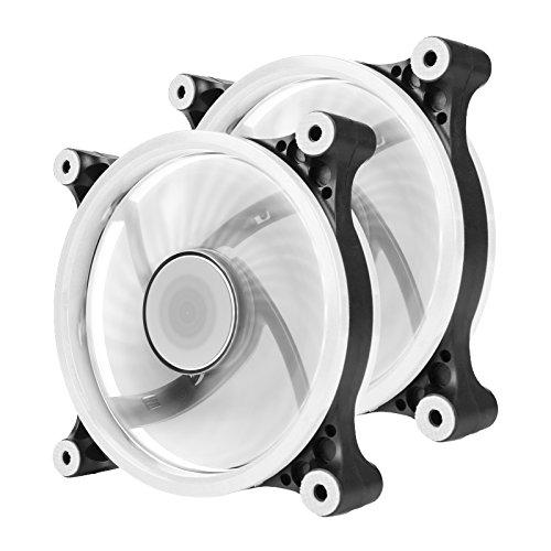 Aigo 2pcs Ordenador Ventilador, LED 120mm silencioso High Airflow LE