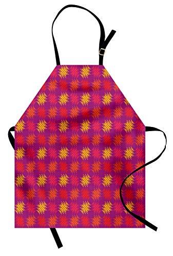 Stamm Quadratischen Form (ABAKUHAUS Boho Kochschürze, Hand gezeichnet quadratische Form mit traditioneller Stammes-Zusammensetzung UREINWOHNER-Motiven, Farbfest Höhenverstellbar Waschbar Klarer Digitaldruck, Mehrfarbig)