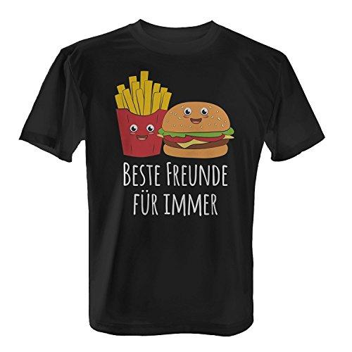 Fashionalarm Herren T-Shirt - Beste Freunde für Immer | Pommes Frittes & Burger | Fun Shirt Als Lustige Geschenk Idee für Fast Food Fans, Farbe:Schwarz;Größe:L