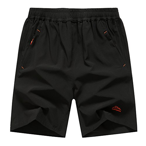 41%2Bp0fof6WL. SS500  - donhobo Men's Outdoor Breather Quick Dry Lightweight Sports Shorts Zipper Pockets