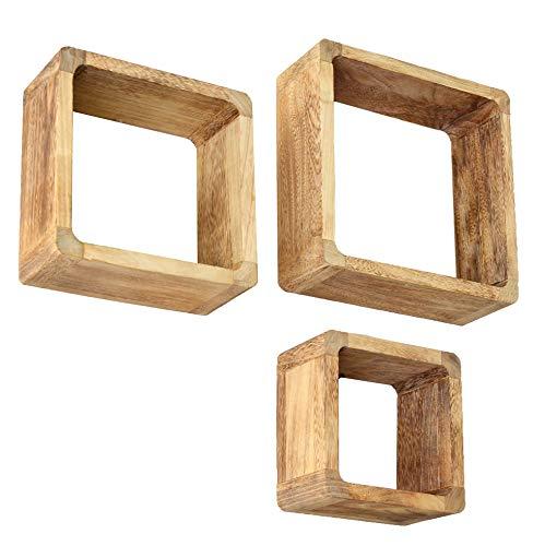 Ts-ideen - set 3 mensole in legno massiccio, stile retrò naturale, colore: marrone chiaro