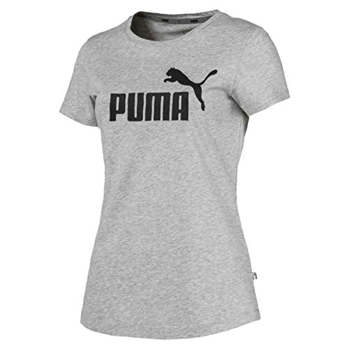 Puma Damen ESS Logo Tee T-Shirt, Light Gray Heather, M