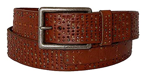 Calvin Klein Ceinture unisex leather w rivets and holes brn