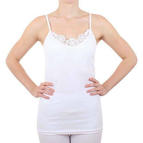2er Pack Damen Hemd mit Spitze Feinripp aus 100% Baumwolle (Unterhemd, Oberteil) Nr. 328/0210  Weiß