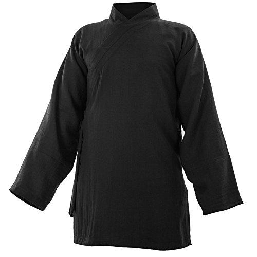 wu designs Baumwolle (Leicht) Kung Fu & Tai Chi Shirt Diagonaler Kragen Langarm - Taiji Anzug Schwarz 170