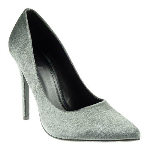 Angkorly Damen Schuhe Pumpe - Stiletto - Dekollete Stiletto High Heel 11 cm Grau