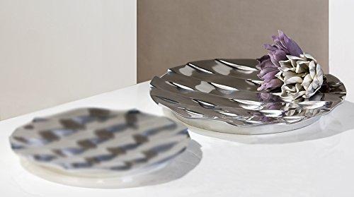 """Casablanca Design Schale \""""Grid\"""", poliertes Aluminium, Durchmesser ca. 39 cm"""