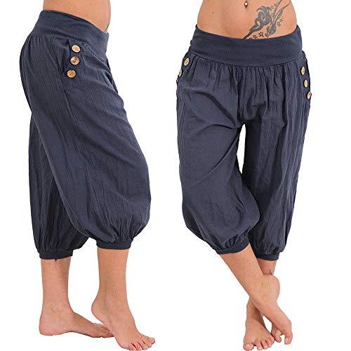 KIMODO® Damen Haremshose weites Bein, Frauen Baggy Boho Drucken Pumphose elastische Taille Sommer Yoga Jogging Hose Freizeit Pants Große - Bereiten Sie Tasche Kostüm
