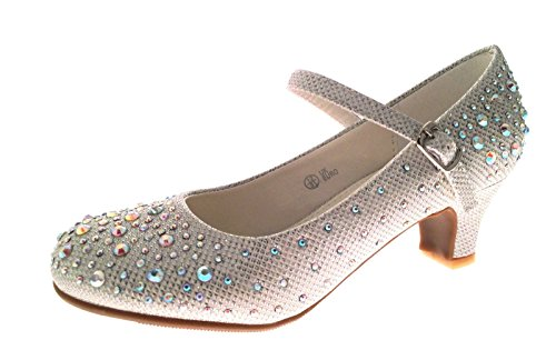 Kids Girls Mary Jane Party Shoes Diamante Glitter Bridesmaids Low Heels White Size UK 2