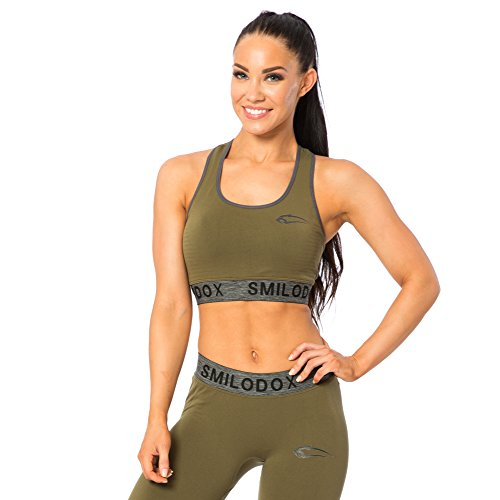 SMILODOX Seamless Sport-BH Damen | Fitness-BH ohne Bügel | Starker Halt im Training - Bustier ideal für Pilates Yoga Gym Fitness & Workout - Soft Büstenhalter - Sports Bra, Farbe:Grün, Größe:L
