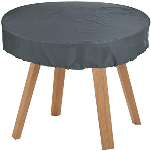 KaufPirat Premium Abdeckplane Rund Ø 150x15 cm Anthrazit Gartenmöbel Gartentisch Abdeckung Schutzhülle Abdeckhaube Outdoor Round Patio Table Cover -
