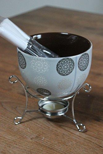 Schokofondue-Set-Fondueset-f-Schokofruechte-Metall-Keramik Grau/Weiß