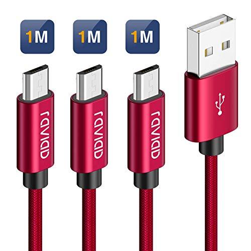 Micro USB Kabel, [3Stück 1M] Nylon Micro USB Schnellladekabel 2,4A Android Handy Ladekabel für Samsung S7/S6/J7/J5/J3, Xiaomi Redmi 5, Huawei, Honor, Wiko, Nokia, Sony, Kindle, Echo Dot