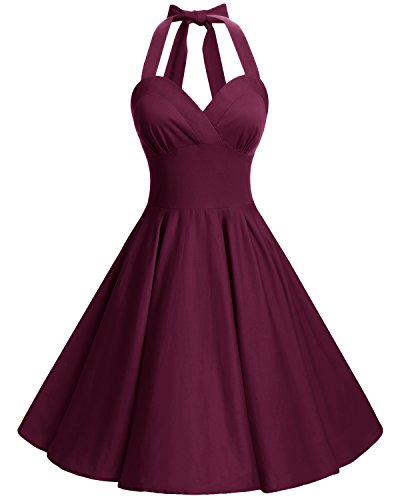 Bbonlinedress Neckholder 50er Vintage Pinup Retro Rockabilly Kleid Cocktailkleider Burgundy M
