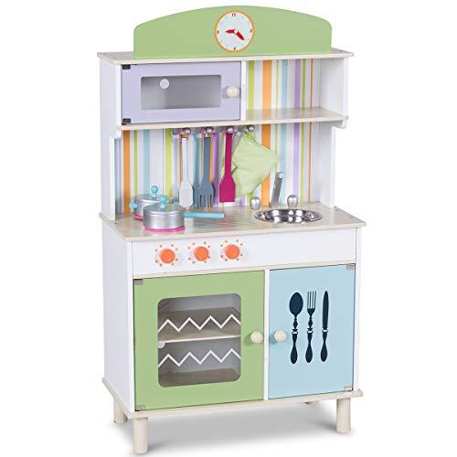 COSTWAY Kinderküche Spielküche Holz Kinderspielküche Spielzeugküche Spielzeug Holzküche mit Zubehör (Grün) (Kiefer-kuchen)