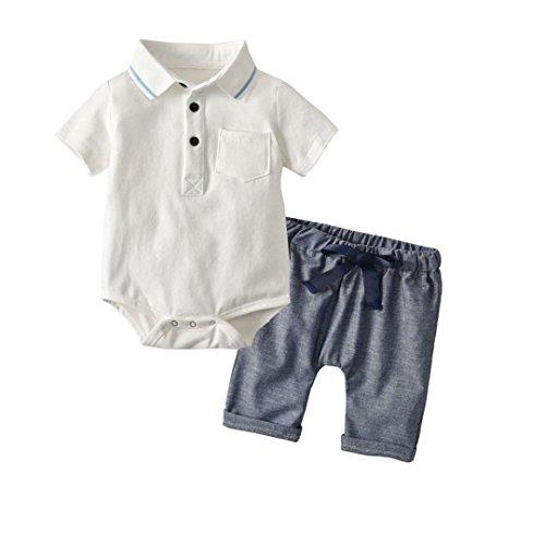 Kinderkleidung, Yanhoo Kinder Baby Jungen Sommer Revers Harfe Oberteile Hemden Spielanzug + Shorts 2 Stück Set Hemden Oberteile (70, Weiß)