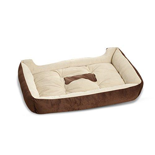 PETCUTE Luxus Katze und Hundebett mit Faux Schaffellfutter, voll waschbar, 6Größen, Katzenbett, Pet Betten, Braun