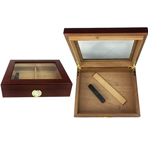 Zigarrenschachtel Zigarrenschachtel, Zederholz Humidor große Kapazität 3520 Stöcke Glas Schiebedach mit Luftbefeuchter und Hygrometer konstante Temperatur- und Feuchtigkeitssiegel, Herren-Geschenkbox