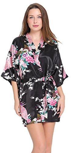 Aibrou-Satn-Kimono-Pijamas-Mujer-34-Manga-Estampado-Camisn-Mujer-Elegante-Cmoda-Pijama-Bata-Albonoz-Para-CasaCama