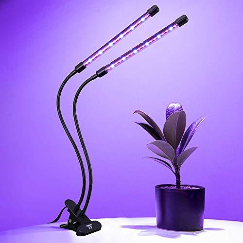 TaoTronics Pflanzenlampe mit verstellbarem Schwanenhals Doppelkopf 28W 36 LEDs Grow Light Wachstumslampe mit 6 Dimmstufen