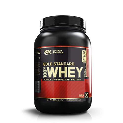 Optimum Nutrition ON Gold Standard Whey Protein Pulver, Eiweißpulver Muskelaufbau mit Glutamin und Aminosäuren, natürlich enthaltene BCAA, Delicious Strawberry, 30 Portionen, 908g