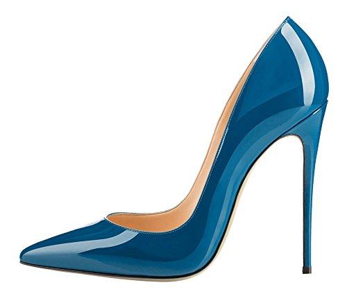 Monicoco Scarpe Da Donna Oversize A Punta Stiletto Pompe Per La Festa Nuziale A-vernice Blu