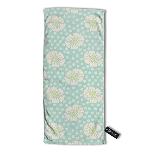 Dotty Flower (Spring Friends Dotty Flowers In Aqua Premium Microfiber Hair Towel Super Absorbent Anti-Frizz Hair Towel for Drying Curly Long & Thick Hair 12 X 27.5 inch (30 X 70 cm))