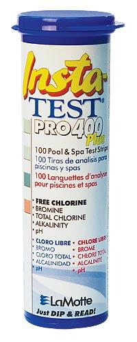 Insta-Test Pro 400Teststreifen Plus, Schwimmbad und Whirlpool Teststreifen (100) für freies Chlor, Brom, Total Chlor, Alkalinität, pH.