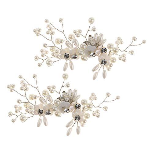 Baoblaze Elegant Schuhclips Schuhschmuck Schuhdekoration Schuhschnalle mit Strass und Perlen Design - Muschelpflaume